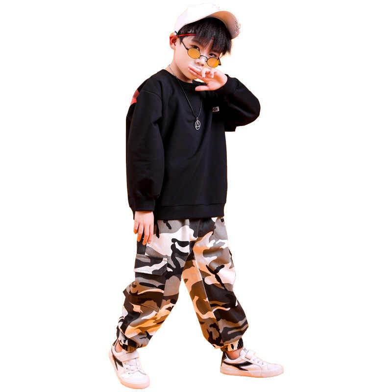 Ropa de Hip Hop para niños, sudadera suelta, camisa de camuflaje, pantalones casuales para correr, para niñas, niños, traje de baile de Jazz, ropa
