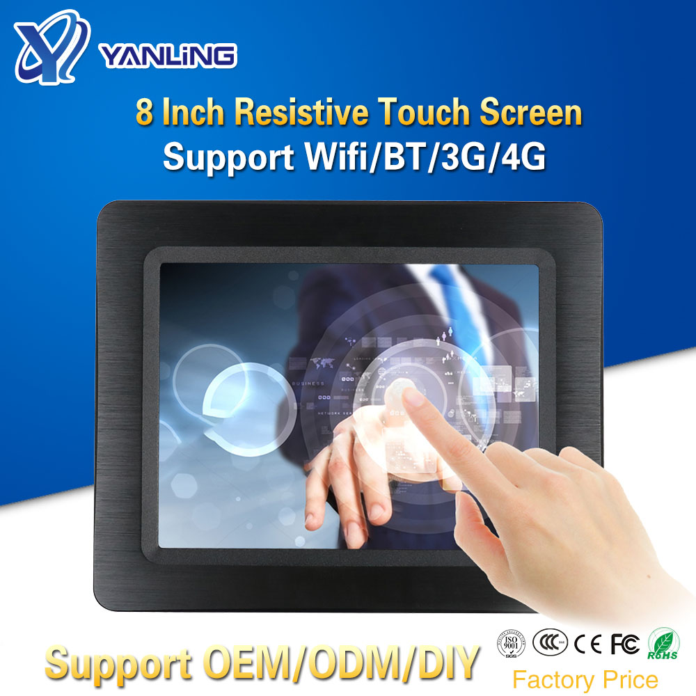 Yanling Newest 8 Inch All-In-one Panel PC J1900 Processor 2*Intel I211-AT Lan Resistive Touch Screen Computer Embedded SIM Slot
