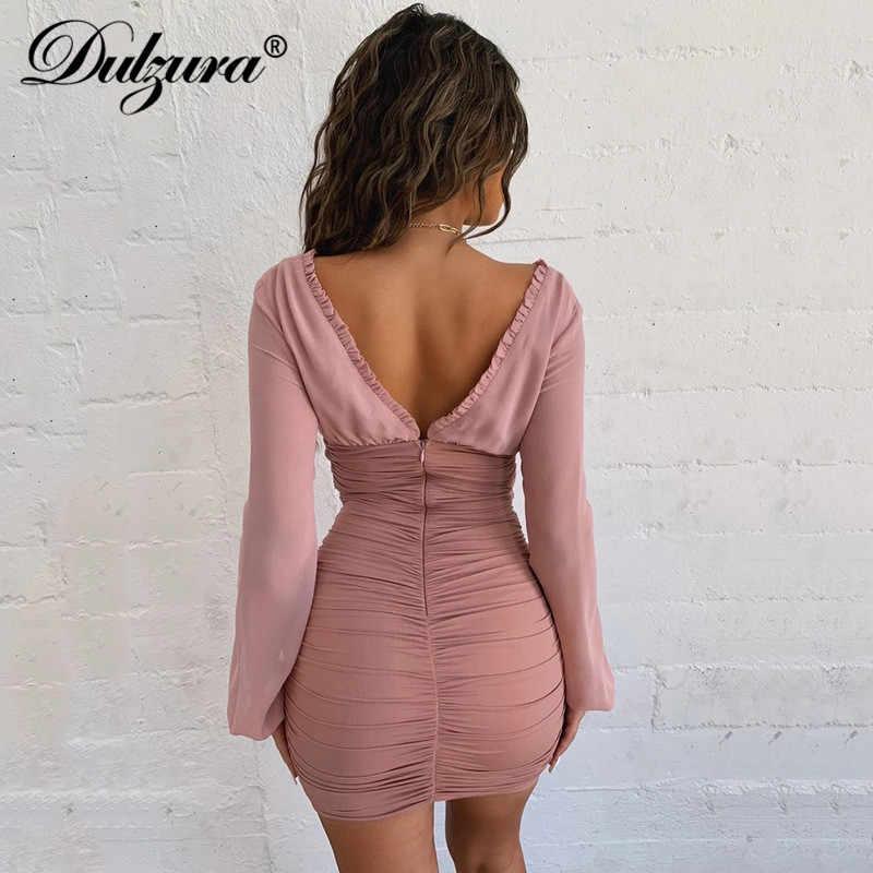 Dulzura 2019 осенне-зимнее женское мини-платье с длинными рукавами и завязками, гофрированная одежда для тела вечерние элегантные вечерние сетчатые повязки