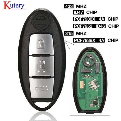 kutery inteligente remoto chave 3 botoes para nissan qashqai x trail tiida sylphy carro 433mhz