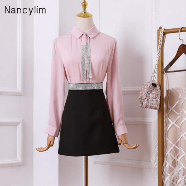 2019 automne femmes deux pièces costume dames tempérament à manches longues chemise avec strass taille haute jupe mode deux pièces ensembles