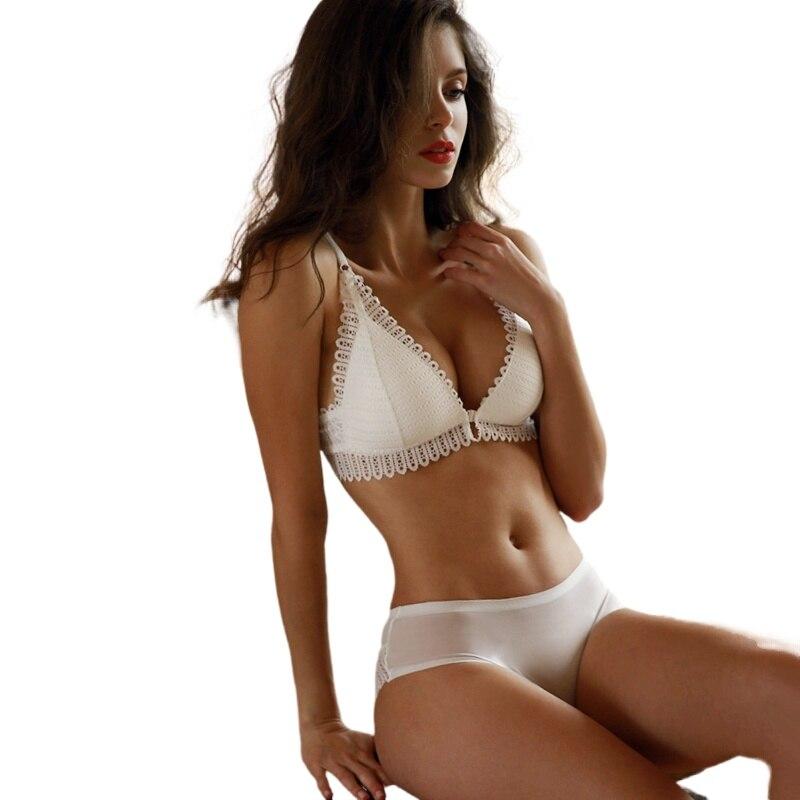 Underwear Women Set Sexy Backless Bra Lace Front Closure Seamless Push Up Underwear Briefs Women Wireless Lingerie Sets