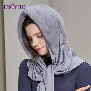 Image 2 - ENJOYFUR gorros de piel de visón genuina para mujer, 100%, bufanda de invierno, sombrero, gorros cálidos elegantes para mujer piel nueva, gorros