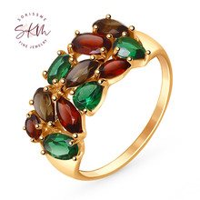 SKM Vintage Gemstone rings 14k 18k rose gold garnet rings for women wedding rings designer Promise Luxury Fine Jewelry