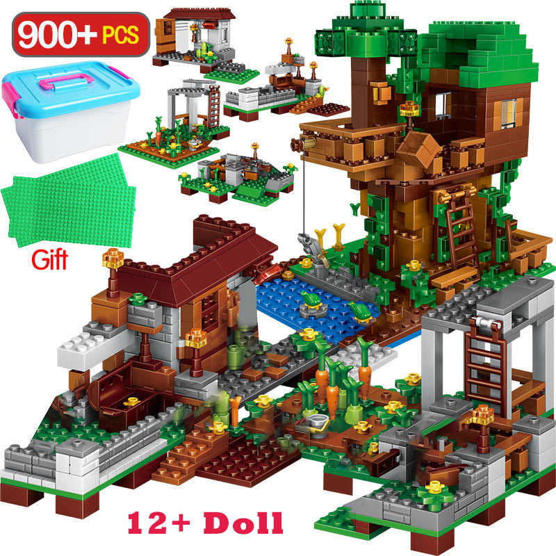 900PCS My World Building Blocks Legoingly  Village Blocks The Tree House Kits With Figures Toys For Children Gift