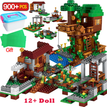 900 sztuk seria miejska klocki dla wioski bloki domek na drzewie zestawy z figurami zabawki dla dzieci prezent