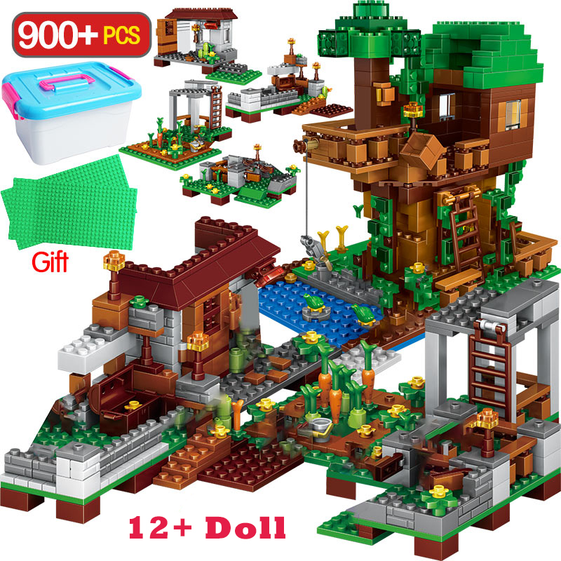 900PCS My World Building Blocks Legoingly Minecrafted Village Blocks The Tree House Kits With Figures Toys For Children Gift