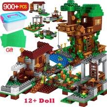 900PCS 도시 시리즈 빌딩 블록 마을 블록 트리 하우스 키트 피규어 어린이위한 장난감 선물