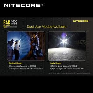 Image 5 - Yeni nesil NITECORE E4K 4400 lümen 4 x CREE XP L2 V6 led 21700 kompakt EDC el feneri ile 5000mAh Li ion pil