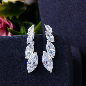 Image 3 - Pera Fashion Marquise Cut Clean White CZ Zirconia Wedding Leaf Drop Necklace Earrings Set for Brides Bridesmaids Jewelry J316
