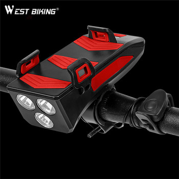 WEST BIKING Bicycle MTB lamp 4 in 1 LED front light USB Rechargeable lantern Phone Holder Power Bank Flashlight for Bike Cycling
