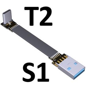 Image 4 - 3A USB 유형 C 90도 USB C 케이블 리본 플랫 각도 아래로 구즈넥 타입 USB 3.0 유형 C 고속 데이터 케이블