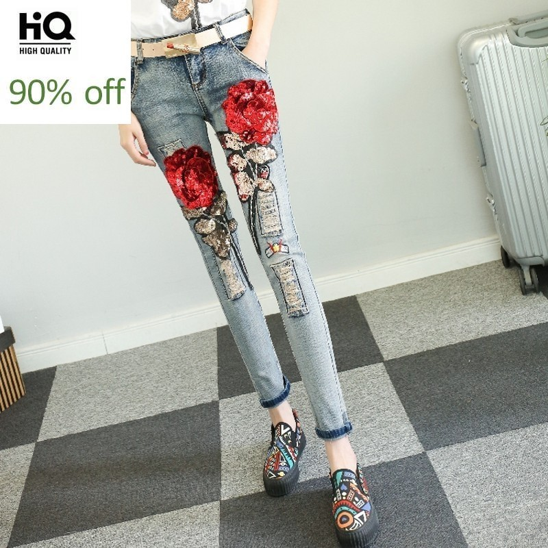 Streetwear Fashion New 2020 Hip Hop Personalized Denim Pants For Women Chic Sequins Flowear Jeans Washed Ripped Roupas Feminina