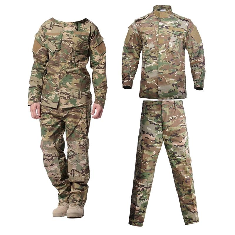 Askeri üniforma Airsoft kamuflaj taktik takım elbise kamp erkekler ordu özel kuvvetler savaş Jcckets pantolon Militar asker elbise