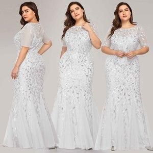 Image 2 - ערב שמלות בתוספת גודל ארוך המפלגה שמלות בת ים גבוהה צוואר רוכסן חזרה באורך רצפת שמלות נשף פאייטים ערב שמלות 2020