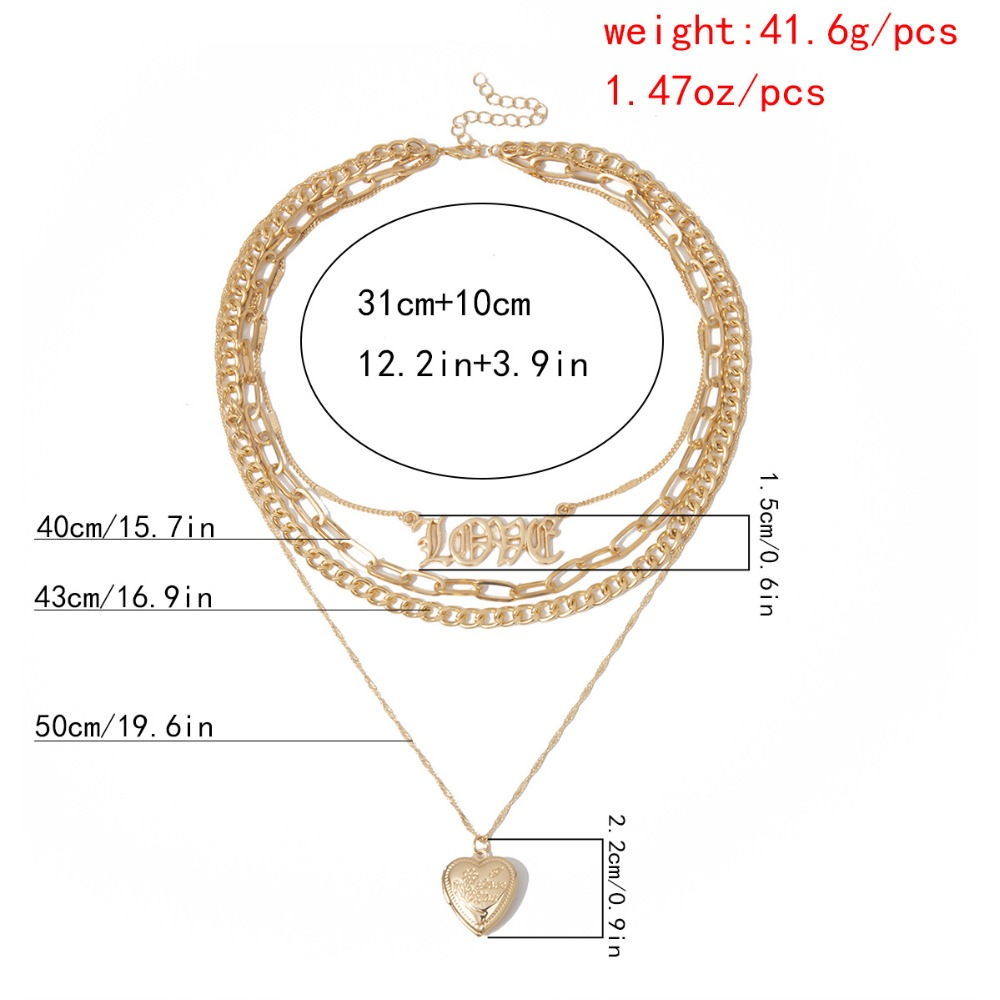 H1b248a97039146eebcb483b02f84abd0T - Multi layer Punk chain with heart stars for women men padlock love pendant necklace statement gothic cool fashion jewelry