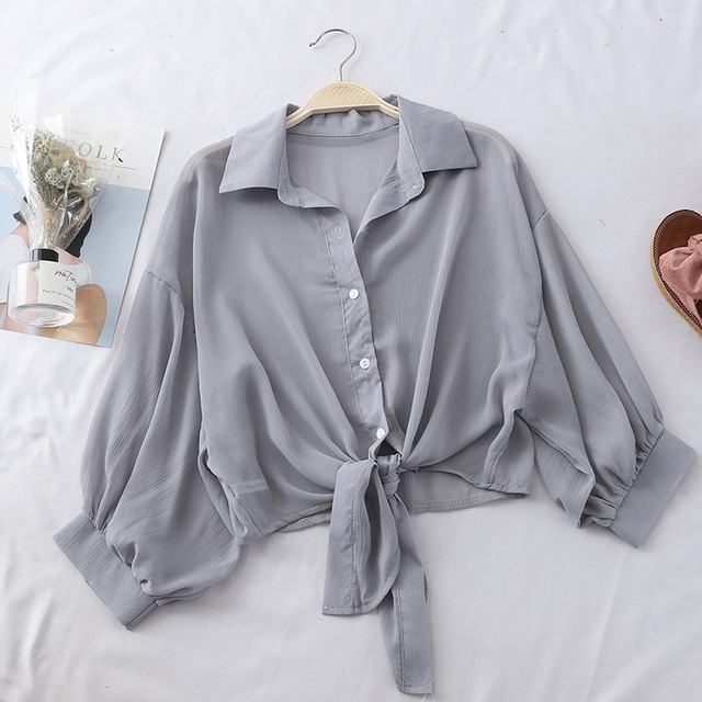 HELIAR Chiffon Shirts Women 2020 Summer Half Sleeve Buttoned Up Shirt Loose Casual Blouse Tied Waist Elegant Blouses For Women