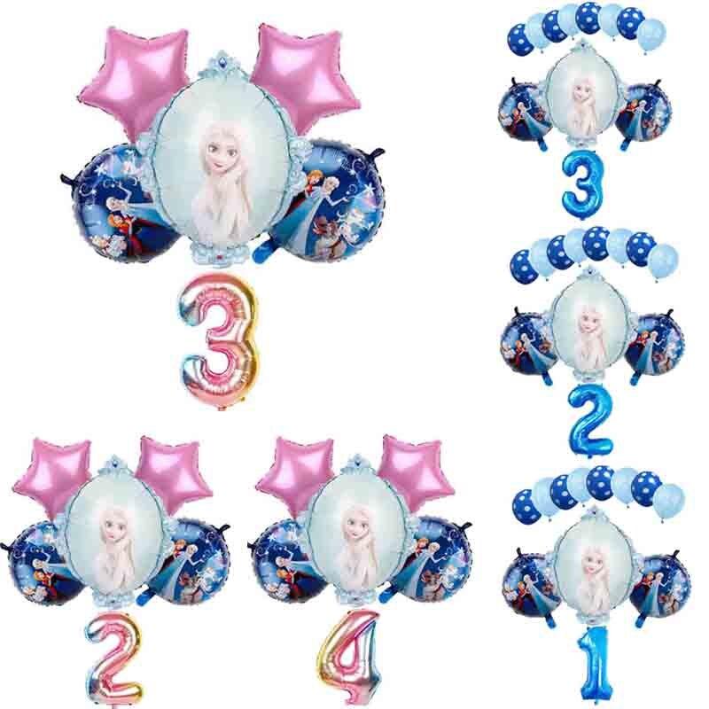 """1 комплект Эльза Disney принцессы из мультфильма """"Холодное сердце"""" воздушные шары с гелием 32 дюймов номер Baby Shower счастливые День рождения укр..."""