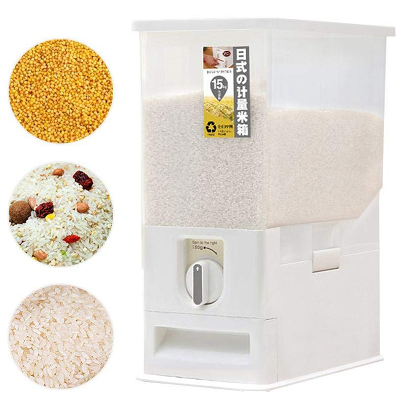 Rice Dispenser  Rice Storage Container  Rice Bin Container  Measureable Rice Cylinder  15KG Capacities of Rice|  - title=