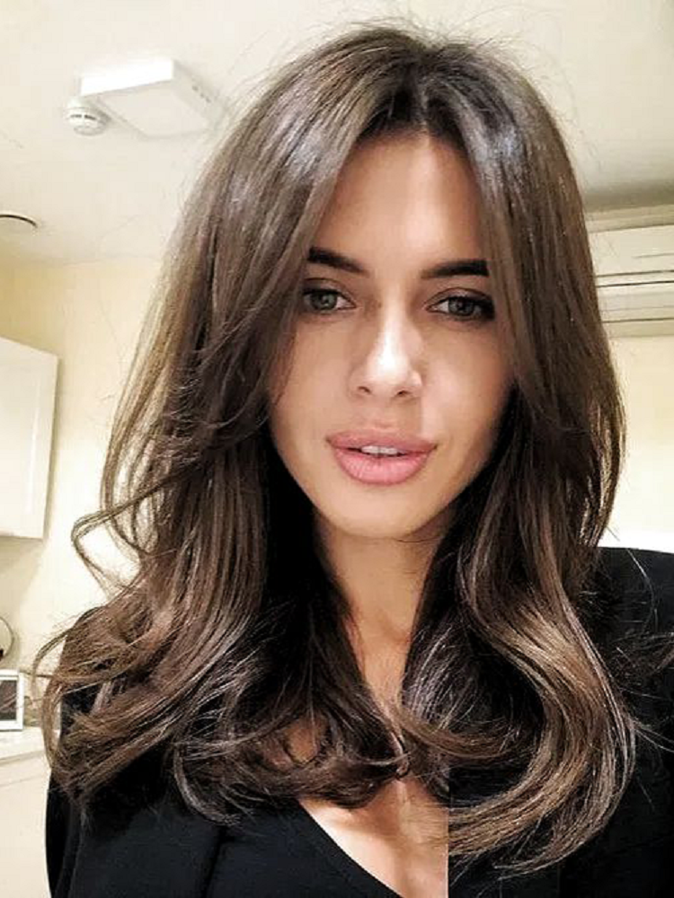 EMMOR Hair-Wig Bangs Light-Brown Fluffy Natural-Wave Black White Long Ombre Women To