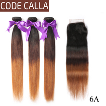 цена на Code Calla 6A Straight Hair Bundles With 4*4 Lace Closure Ombre Color Brazilian Remy Human Hair Weaving Extension For Africa