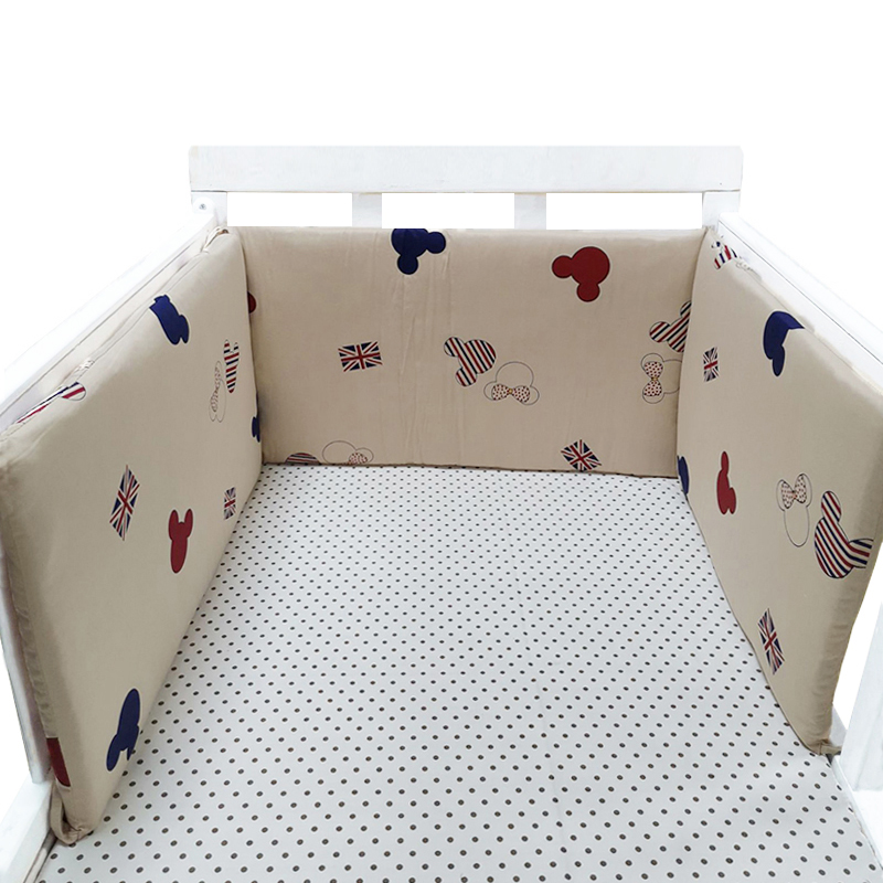 Baby Bed Crib Bumper U-Shaped Detachable Zipper Cotton Newborn Bumpers Infant Safe Fence Line Bebe Cot Protector Unisex