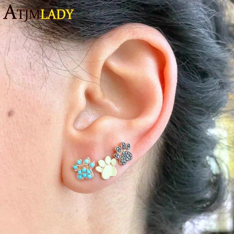 Silver tone Footprints Stud Earrings