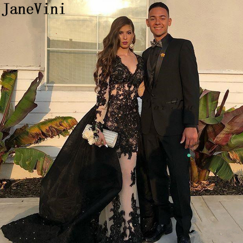 JaneVini Arabic Women Mermaid Evening Dresses with Detachable Long Sleeves Beaded Black Lace Illusion Dubai Formal Ceremony Gown