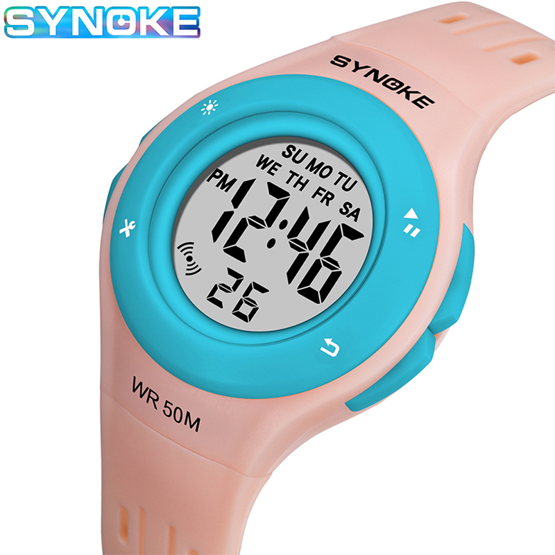 SYNOKE Children Girls Electronic Digital Watch 50Bar Waterproof Diving Swimming Watch For Boys Girls Sport Clock Chronograph