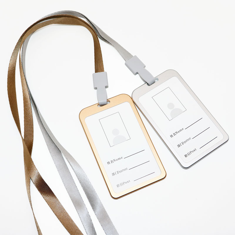Aluminium Alloy Work Card Holder Certificate Holder Label Diao Pai Dai Lanyard Metal Badge Customizable