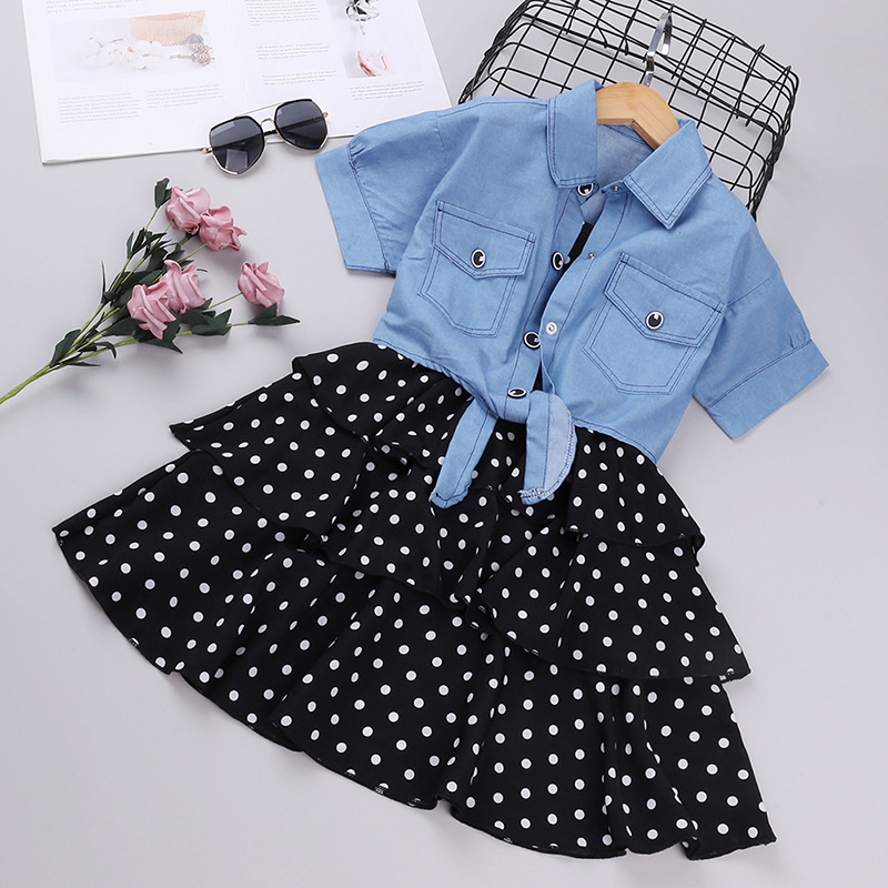 Onegame Big Girl Clothing sets Slip dress + Shirt Shawl Two Pieces Suits Dot Cake Dresses For Girls Summer Clothes 12 years