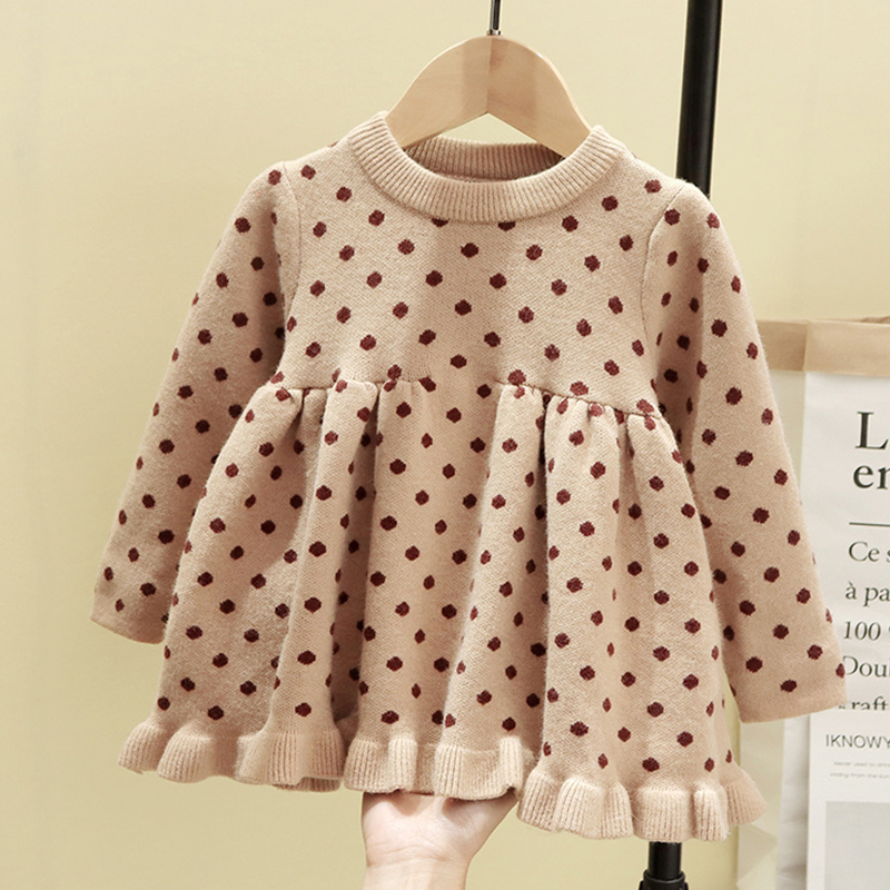 <font><b>Baby</b></font> Girl Winter Clothes <font><b>Dress</b></font> Sweaters For <font><b>Baby</b></font> Girl Sweater <font><b>Polka</b></font> <font><b>Dot</b></font> Knit <font><b>Dress</b></font> Infant Sweater Knit <font><b>Baby</b></font> Girl Infant <font><b>Dresses</b></font> image