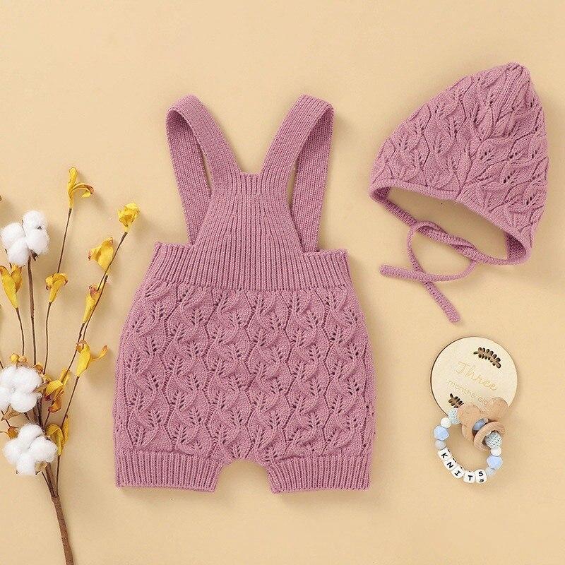Dla dzieci pajacyki dziecięce czapka z dzianiny + Romper 2 sztuk jednolity kolor chłopiec dziewczyna odzież 0-24 miesięcy zima Ovearll dla dzieci wiosna zima