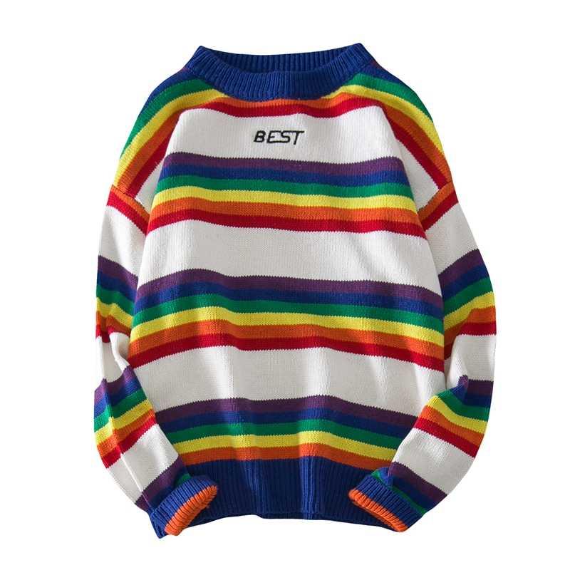 Suéter a rayas otoño 2019 nuevo Super Fire Trend cuello redondo suéter Arco Iris rayas Jersey ins estudiantes sueltos ropa de hombres salvajes