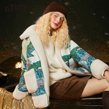 Down-Coat Oversize ELFSACK Women Outwear Hooded Korean Winter Ladies 90%White Patchwork