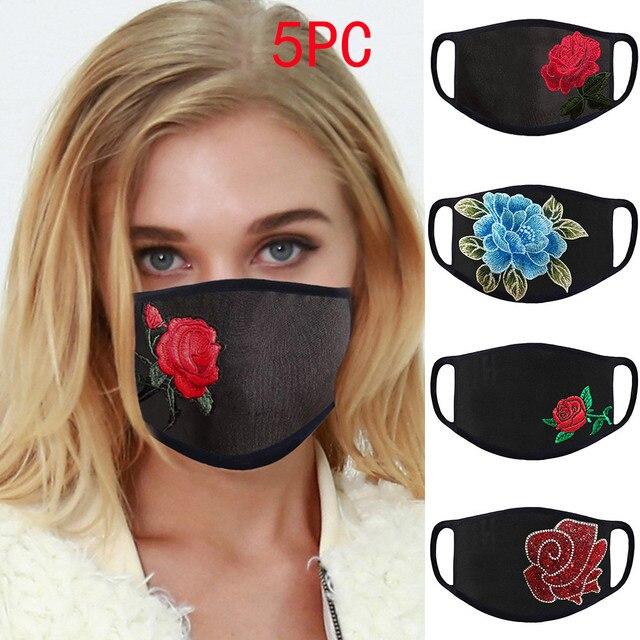5PC Women Dust Sand Sunscreen Applique Face Cycling Breathable Mask Cotton Dustproof Anime Cartoon Kpop madque lavable#w 1