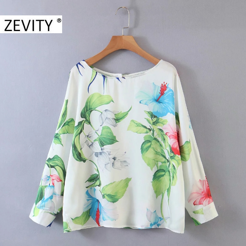 ZEVITY New women vintage leaves flower print casual loose blouse ladies batwing sleeve business shirts chic pullover tops LS7119