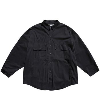 Mens Casual Cotton Large Size Shirts Men Shirt Oversize Double Pocket Vintage Male Retro Mens Shirt Plus Size Men Blouse II50CS