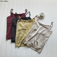 2020 Summer Tank Tops Sexy Boho Fashion Satin Thin Shoulder Strap Women Solid Color Comfortable Breathable Base Top Vest Female