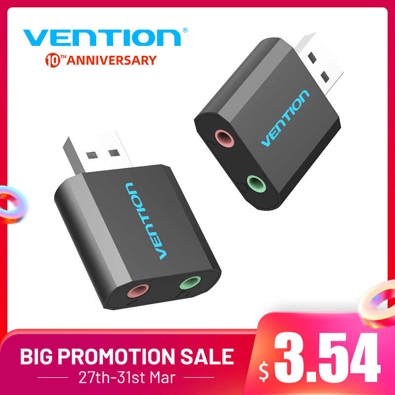 Vention External USB Sound Card 3.5 Mm Headphone Earphone Adaptor Aux Kartu Audio untuk Mikrofon Speaker Pubg Komputer Suara Kartu