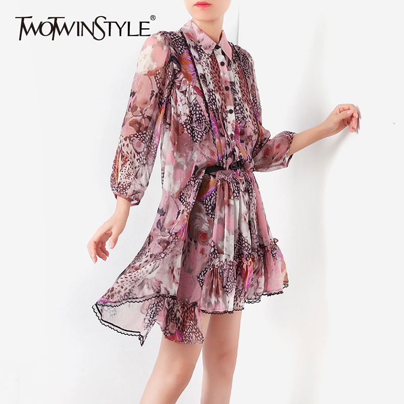 TWOTWINSTYLE Vintage Print Asymmetrical Womens Dress Lapel Collar Patchwork Lace Loose Dresses Female Fashion Autumn 2020 New