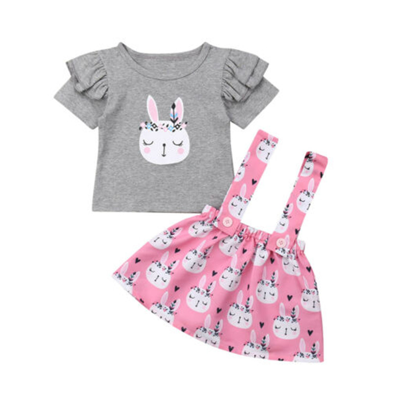 US Toddler Infant Baby Girl Tops Skirt Suspender Easter Bunny Dress Outfit 0-4Y
