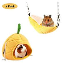 NACOCO 2 Pack Banana & Pineapple Nest for Golden Hamster, Cavy, Hedgehog, Squirrel of Hamsters Warm House Pet to Sleep
