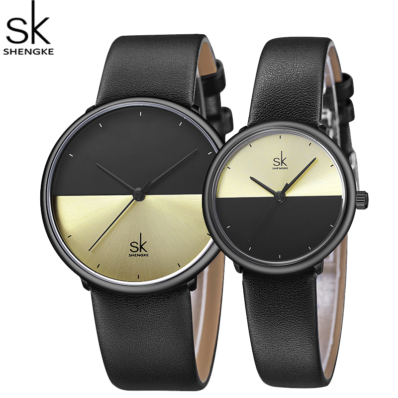 ShengKe Fashion Lovers Watch Men Women Casual Sport Leather Strap Quartz Clock Waterproof Dress Couple Wristwatches Montre Femme