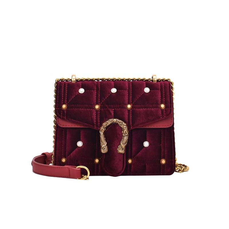 Velvet Crossbody Bags For Women 2019 New Winter Small Square Bag Female Fashion Brand Shoulder Bag Luxury Chain Messenger Bag