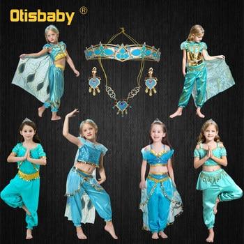 Arabian Fancy Princess Dress Up Green Girl Aladdin Dress Christmas Halloween Jasmine Costume Children Cosplay Masquerade Party