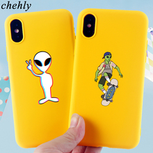 Cartoon Alien Phone Case for iPhone X XR XS Max 8 7 6 S Plus Anime Cases Soft Silicone Fitted Mobile Accessories Covers
