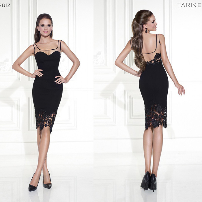 Tarik Ediz Scoop Neck Lace Sleeveless Black Knee Length Satin New Arrival Mother Of The Bride Dresses