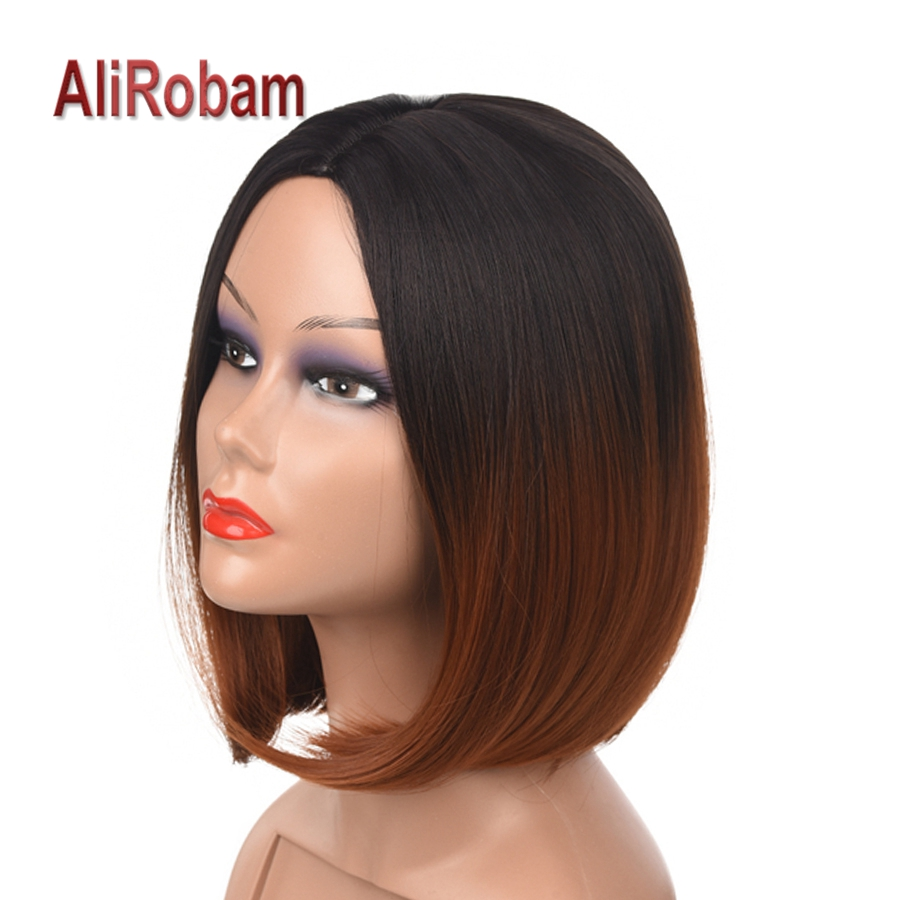 14 Inch Silky Straight Short Bob Wigs Skin Top Made Synthetic Ombre Wig For Female Heat Resistant Hair Black Brown Blue Burgundy