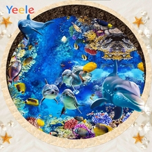 Yeele Decor Photocall Circle Wall Dolphin Undersea Photography Backdrops Personalized Photographic Background For Photo Studio